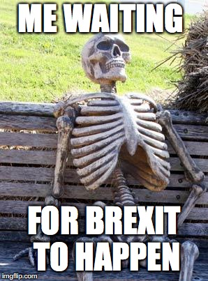 Waiting Skeleton Meme | ME WAITING FOR BREXIT TO HAPPEN | image tagged in memes,waiting skeleton | made w/ Imgflip meme maker