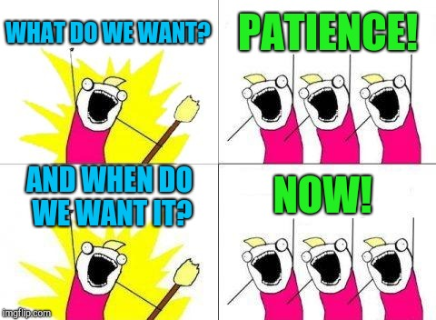 What Do We Want Meme | WHAT DO WE WANT? PATIENCE! AND WHEN DO WE WANT IT? NOW! | image tagged in memes,what do we want | made w/ Imgflip meme maker