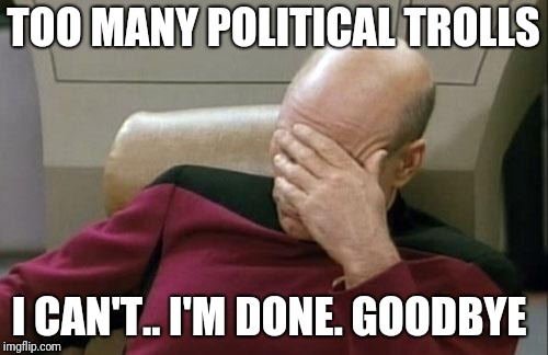 This is farewell  | TOO MANY POLITICAL TROLLS I CAN'T.. I'M DONE. GOODBYE | image tagged in memes,captain picard facepalm,goodbye | made w/ Imgflip meme maker