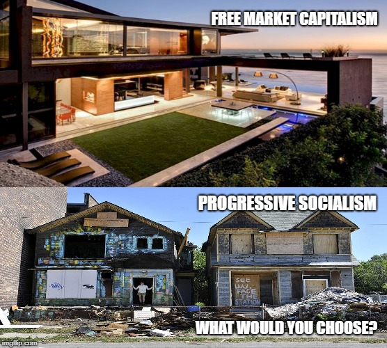 Plush vs Poverty | FREE MARKET CAPITALISM PROGRESSIVE SOCIALISM WHAT WOULD YOU CHOOSE? | image tagged in free markets,capitalism,socialism,communism,progressive,poverty | made w/ Imgflip meme maker