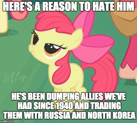 BS Apple Bloom | HERE'S A REASON TO HATE HIM HE'S BEEN DUMPING ALLIES WE'VE HAD SINCE 1940 AND TRADING THEM WITH RUSSIA AND NORTH KOREA | image tagged in bs apple bloom | made w/ Imgflip meme maker