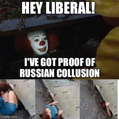 IT Sewer / Clown  | HEY LIBERAL! I'VE GOT PROOF OF RUSSIAN COLLUSION | image tagged in it sewer / clown,liberals,russian collusion,gullible,political meme | made w/ Imgflip meme maker
