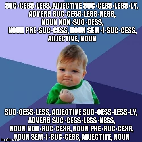 Success Kid Meme | SUC·CESS·LESS, ADJECTIVESUC·CESS·LESS·LY, ADVERBSUC·CESS·LESS·NESS, NOUNNON·SUC·CESS, NOUNPRE·SUC·CESS, NOUNSEM·I·SUC·CESS, ADJECTIVE,  | image tagged in memes,success kid | made w/ Imgflip meme maker