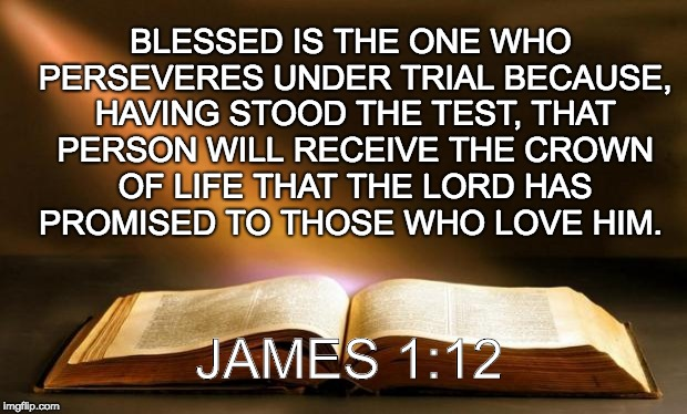 Bible  | BLESSED IS THE ONE WHO PERSEVERES UNDER TRIAL BECAUSE, HAVING STOOD THE TEST, THAT PERSON WILL RECEIVE THE CROWN OF LIFE THAT THE LORD HAS P | image tagged in bible | made w/ Imgflip meme maker