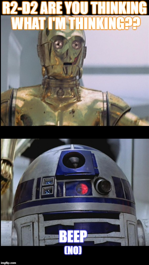 Star Wars C3PO: This is Madness! R2D2: Madness? THIS IS STAR WAR | R2-D2 ARE YOU THINKING WHAT I'M THINKING?? BEEP (NO) | image tagged in star wars c3po this is madness r2d2 madness this is star war | made w/ Imgflip meme maker