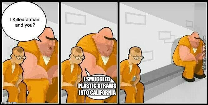 He just hates our planet | I SMUGGLED PLASTIC STRAWS INTO CALIFORNIA | image tagged in prisoners blank,memes | made w/ Imgflip meme maker