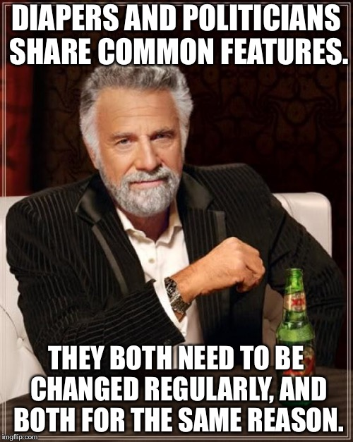 The Most Interesting Man In The World Meme | DIAPERS AND POLITICIANS SHARE COMMON FEATURES. THEY BOTH NEED TO BE CHANGED REGULARLY, AND BOTH FOR THE SAME REASON. | image tagged in memes,the most interesting man in the world | made w/ Imgflip meme maker