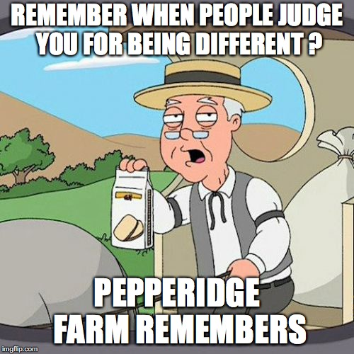Pepperidge Farm Remembers Meme | REMEMBER WHEN PEOPLE JUDGE YOU FOR BEING DIFFERENT ? PEPPERIDGE FARM REMEMBERS | image tagged in memes,pepperidge farm remembers | made w/ Imgflip meme maker