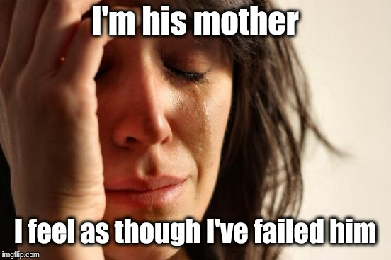First World Problems Meme | I'm his mother I feel as though I've failed him | image tagged in memes,first world problems | made w/ Imgflip meme maker
