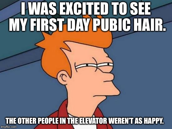 Futurama Fry Meme | I WAS EXCITED TO SEE MY FIRST DAY PUBIC HAIR. THE OTHER PEOPLE IN THE ELEVATOR WEREN'T AS HAPPY. | image tagged in memes,futurama fry | made w/ Imgflip meme maker