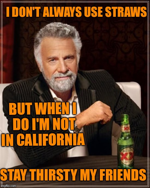 The Most Interesting Man In The World Meme | I DON'T ALWAYS USE STRAWS BUT WHEN I DO I'M NOT IN CALIFORNIA STAY THIRSTY MY FRIENDS | image tagged in memes,the most interesting man in the world | made w/ Imgflip meme maker