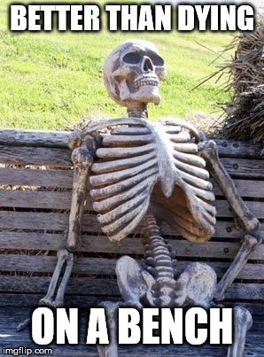 Waiting Skeleton Meme | BETTER THAN DYING ON A BENCH | image tagged in memes,waiting skeleton | made w/ Imgflip meme maker
