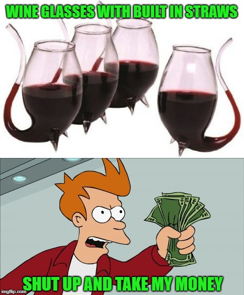 WINE GLASSES WITH BUILT IN STRAWS SHUT UP AND TAKE MY MONEY | made w/ Imgflip meme maker