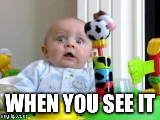 Scared Baby 2 | WHEN YOU SEE IT | image tagged in scared baby 2 | made w/ Imgflip meme maker