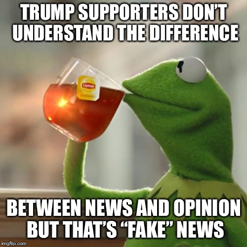 "But Thats None Of My Business Meme | TRUMP SUPPORTERS DON'T UNDERSTAND THE DIFFERENCE BETWEEN NEWS AND OPINION BUT THAT'S ""FAKE"" NEWS 