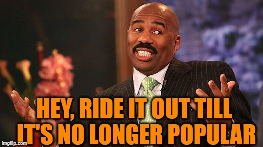 shrug | HEY, RIDE IT OUT TILL IT'S NO LONGER POPULAR | image tagged in shrug | made w/ Imgflip meme maker