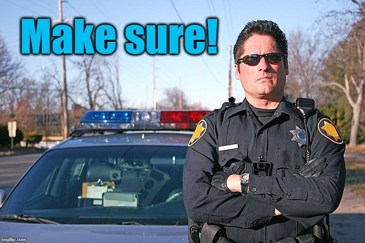 police | Make sure! | image tagged in police | made w/ Imgflip meme maker