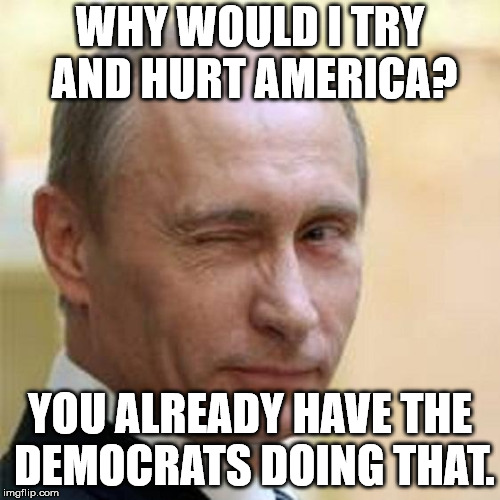 Truer words where never spoken. | WHY WOULD I TRY AND HURT AMERICA? YOU ALREADY HAVE THE DEMOCRATS DOING THAT. | image tagged in putin winking | made w/ Imgflip meme maker