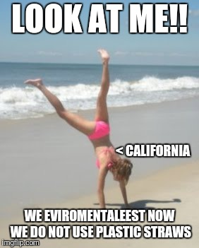 LOOK AT ME!! WE EVIROMENTALEEST NOW WE DO NOT USE PLASTIC STRAWS < CALIFORNIA | image tagged in attention whore | made w/ Imgflip meme maker