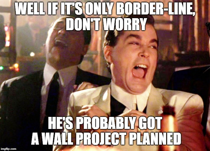 Good Fellas Hilarious Meme | WELL IF IT'S ONLY BORDER-LINE, DON'T WORRY HE'S PROBABLY GOT A WALL PROJECT PLANNED | image tagged in memes,good fellas hilarious | made w/ Imgflip meme maker