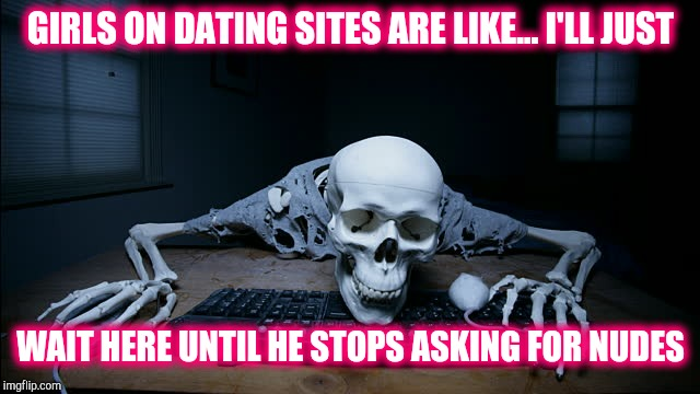 GIRLS ON DATING SITES ARE LIKE... I'LL JUST WAIT HERE UNTIL HE STOPS ASKING FOR NUDES | image tagged in skeleton on computer,dating | made w/ Imgflip meme maker