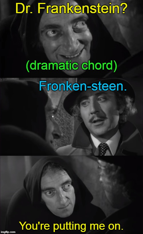 Dr. Frankenstein? You're putting me on. (dramatic chord) Fronken-steen. | made w/ Imgflip meme maker