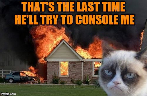 Burn Kitty Meme | THAT'S THE LAST TIME HE'LL TRY TO CONSOLE ME | image tagged in memes,burn kitty,grumpy cat | made w/ Imgflip meme maker