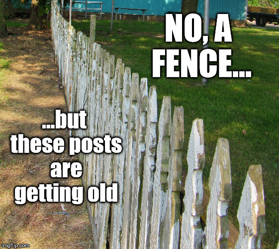 Old posts | NO, A FENCE... ...but these posts are getting old | image tagged in old posts,posts,copycat,repetition,puns | made w/ Imgflip meme maker