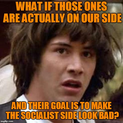 What if | WHAT IF THOSE ONES ARE ACTUALLY ON OUR SIDE AND THEIR GOAL IS TO MAKE THE SOCIALIST SIDE LOOK BAD? | image tagged in what if | made w/ Imgflip meme maker