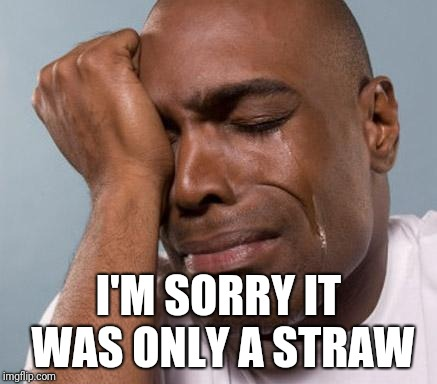 black man crying | I'M SORRY IT WAS ONLY A STRAW | image tagged in black man crying | made w/ Imgflip meme maker