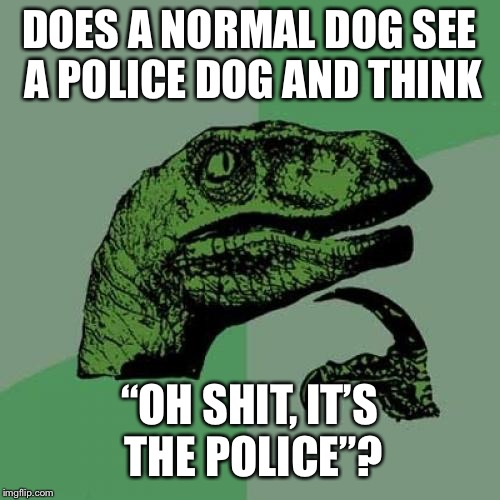 "Philosoraptor Meme | DOES A NORMAL DOG SEE A POLICE DOG AND THINK ""OH SHIT, IT'S THE POLICE""? 