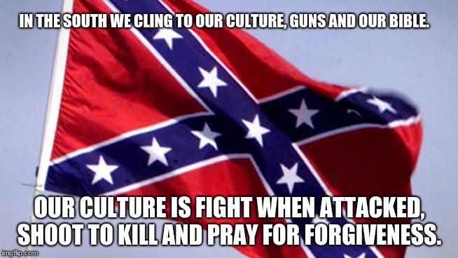 Confederate Flag | IN THE SOUTH WE CLING TO OUR CULTURE, GUNS AND OUR BIBLE. OUR CULTURE IS FIGHT WHEN ATTACKED, SHOOT TO KILL AND PRAY FOR FORGIVENESS. | image tagged in confederate flag | made w/ Imgflip meme maker