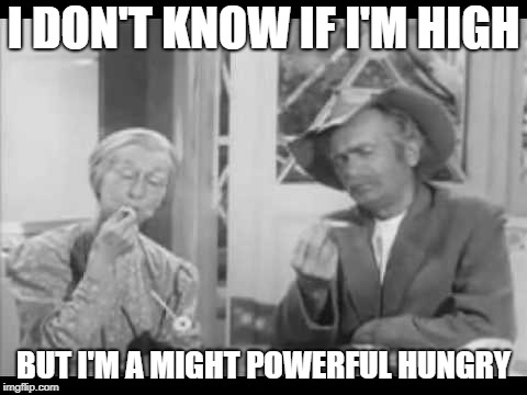 I DON'T KNOW IF I'M HIGH BUT I'M A MIGHT POWERFUL HUNGRY | image tagged in granny,jed,high,munchies,beverly hillbillies,smokin | made w/ Imgflip meme maker