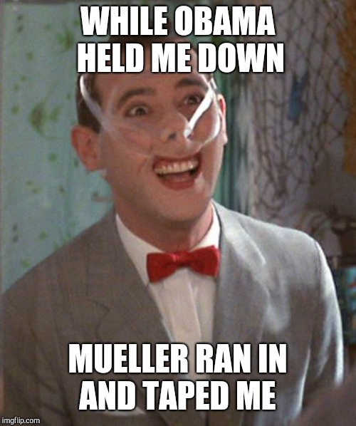 Pee Wee taped | WHILE OBAMA HELD ME DOWN MUELLER RAN IN AND TAPED ME | image tagged in pee wee taped | made w/ Imgflip meme maker