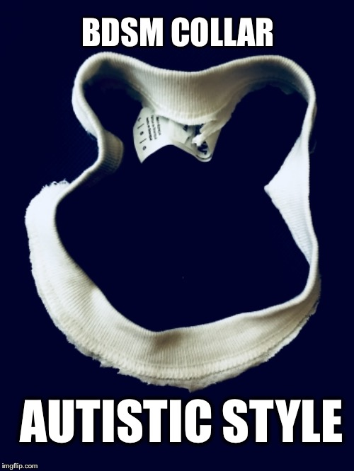 Autistic BDSM | BDSM COLLAR AUTISTIC STYLE | image tagged in autistic,bdsm,sex toys,submission,disability | made w/ Imgflip meme maker