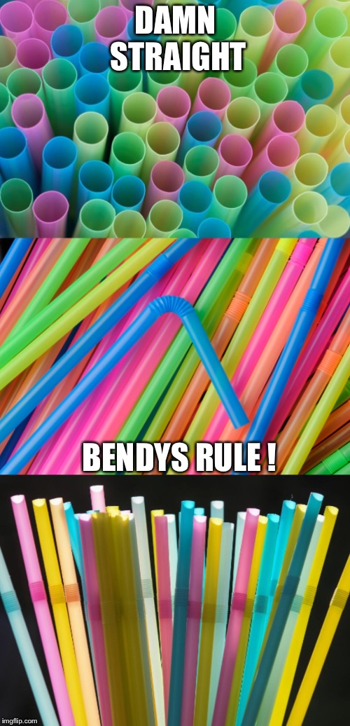 DAMN STRAIGHT BENDYS RULE ! | image tagged in bad pun straws | made w/ Imgflip meme maker