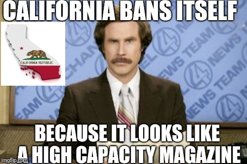 Ron Burgundy Meme | CALIFORNIA BANS ITSELF BECAUSE IT LOOKS LIKE A HIGH CAPACITY MAGAZINE | image tagged in memes,ron burgundy | made w/ Imgflip meme maker