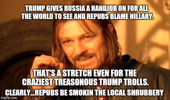 One Does Not Simply Meme | CLEARLY...REPUBS BE SMOKIN THE LOCAL SHRUBBERY TRUMP GIVES RUSSIA A HANDJOB ON FOR ALL THE WORLD TO SEE AND REPUBS BLAME HILLARY. THAT'S A S | image tagged in memes,one does not simply | made w/ Imgflip meme maker