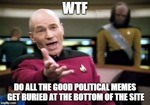 Picard Wtf Meme | WTF DO ALL THE GOOD POLITICAL MEMES GET BURIED AT THE BOTTOM OF THE SITE | image tagged in memes,picard wtf | made w/ Imgflip meme maker