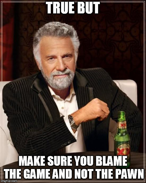 The Most Interesting Man In The World Meme | TRUE BUT MAKE SURE YOU BLAME THE GAME AND NOT THE PAWN | image tagged in memes,the most interesting man in the world | made w/ Imgflip meme maker