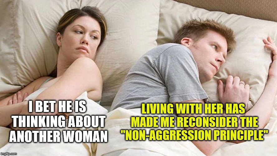 "Living with a non-libertarian | I BET HE IS THINKING ABOUT ANOTHER WOMAN LIVING WITH HER HAS MADE ME RECONSIDER THE ""NON-AGGRESSION PRINCIPLE"" 