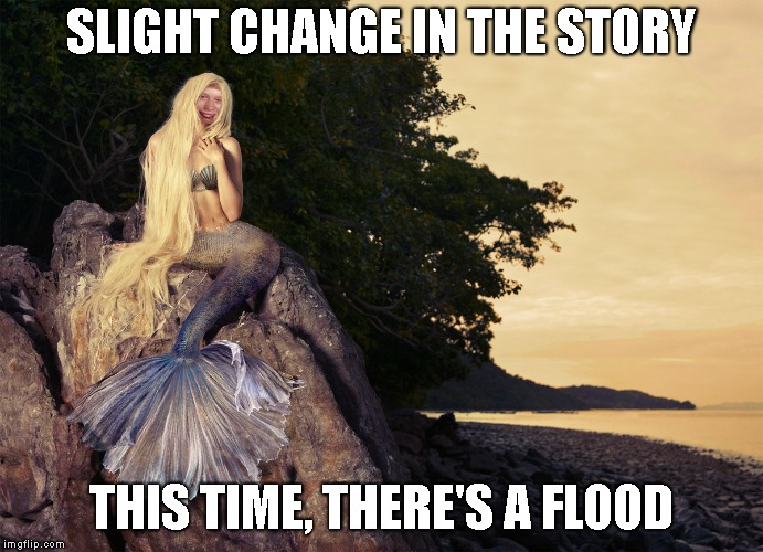 SLIGHT CHANGE IN THE STORY THIS TIME, THERE'S A FLOOD | image tagged in bad luck brian mermaid | made w/ Imgflip meme maker