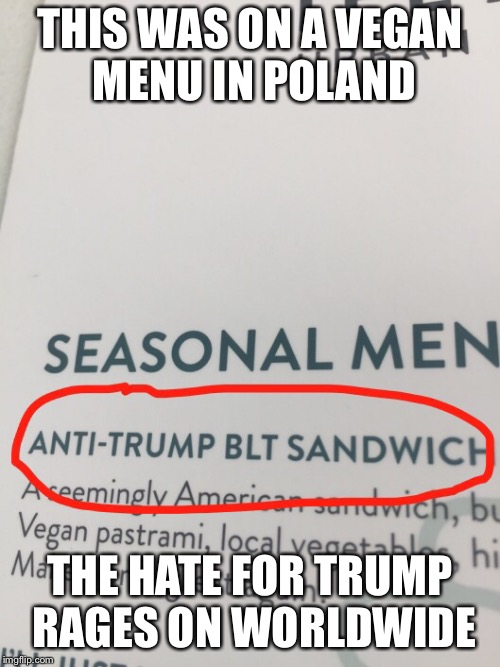 International Trump haters | THIS WAS ON A VEGAN MENU IN POLAND THE HATE FOR TRUMP RAGES ON WORLDWIDE | image tagged in donald trump,funny memes | made w/ Imgflip meme maker