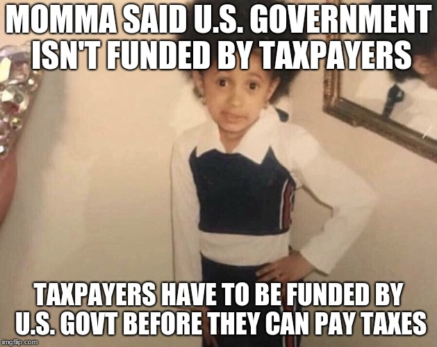 My Momma Said | MOMMA SAID U.S. GOVERNMENT ISN'T FUNDED BY TAXPAYERS TAXPAYERS HAVE TO BE FUNDED BY U.S. GOVT BEFORE THEY CAN PAY TAXES | image tagged in my momma said | made w/ Imgflip meme maker