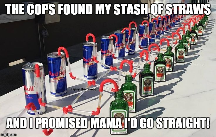 THE COPS FOUND MY STASH OF STRAWS AND I PROMISED MAMA I'D GO STRAIGHT! | image tagged in jagermeister-red bull crazy straws | made w/ Imgflip meme maker