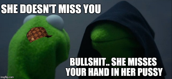 Evil Kermit Meme | SHE DOESN'T MISS YOU BULLSHIT.. SHE MISSES YOUR HAND IN HER PUSSY | image tagged in memes,evil kermit,scumbag | made w/ Imgflip meme maker