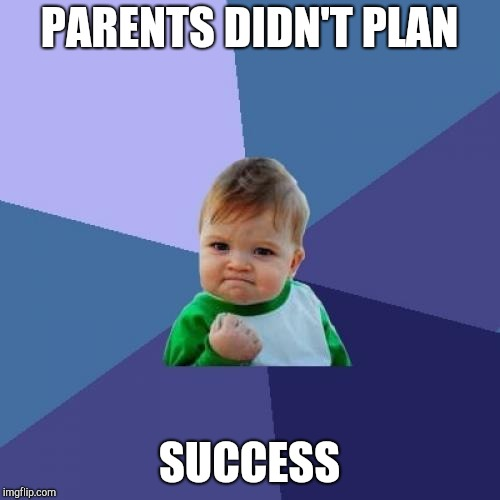 Success Kid Meme | PARENTS DIDN'T PLAN SUCCESS | image tagged in memes,success kid | made w/ Imgflip meme maker