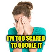 I'M TOO SCARED TO GOOGLE IT | made w/ Imgflip meme maker