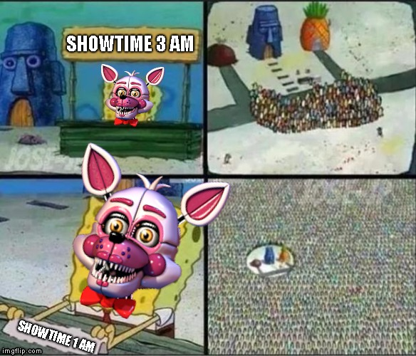 Spongebob Hype Stand |  SHOWTIME 3 AM; SHOWTIME 1 AM | image tagged in spongebob hype stand | made w/ Imgflip meme maker