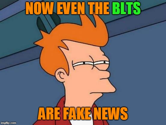 Futurama Fry Meme | NOW EVEN THE BLTS ARE FAKE NEWS BLTS | image tagged in memes,futurama fry | made w/ Imgflip meme maker